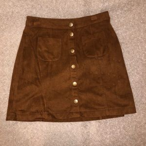 Garage Brown Suede Button-Up Skirt